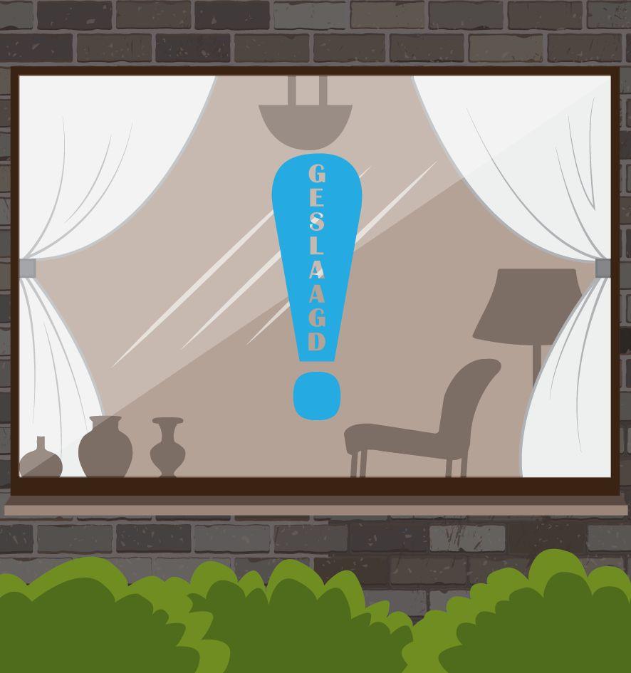 Etiqueta de la ventana éxito - exclamación