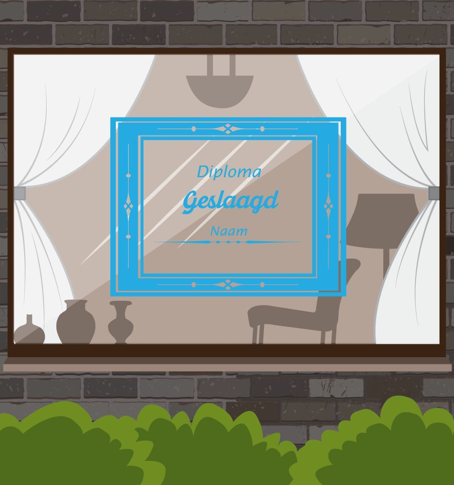 Successful window sticker - Diploma certificate