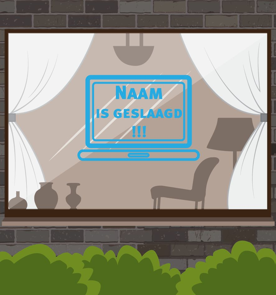 Etiqueta de la ventana éxito - Portátil