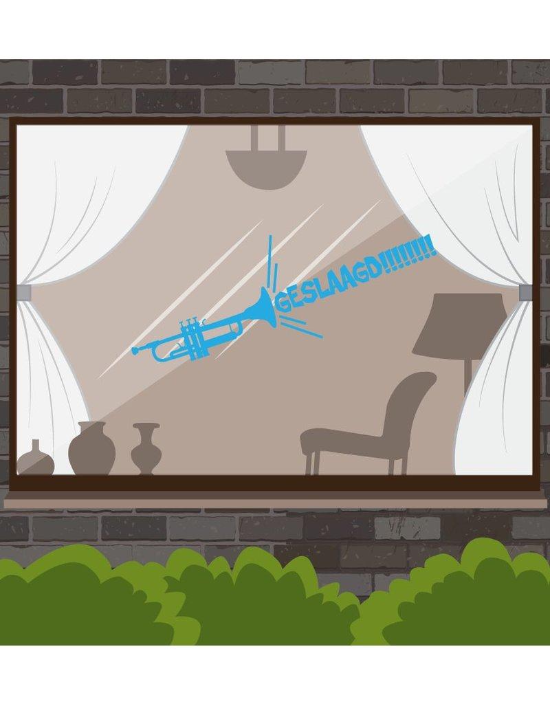 fenêtre réussie autocollant - trompette fort