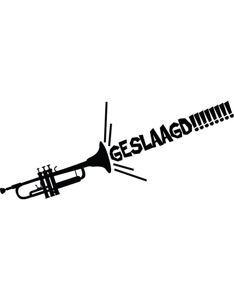 Geslaagd raamsticker - Luide trompet