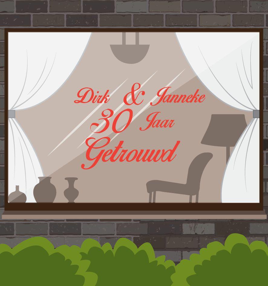Hochzeitstag Fensteraufkleber - Kursiv