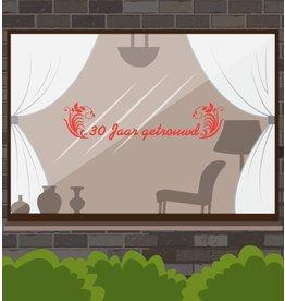 fenêtre anniversaire de mariage autocollant - années avec ornements