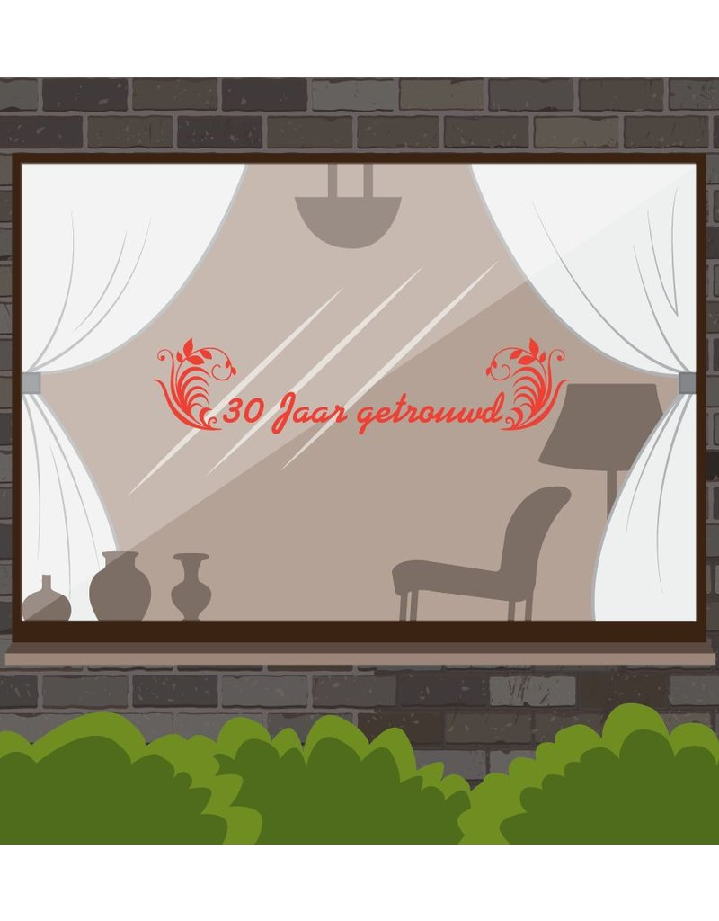 Wedding anniversary window sticker - Years with ornaments