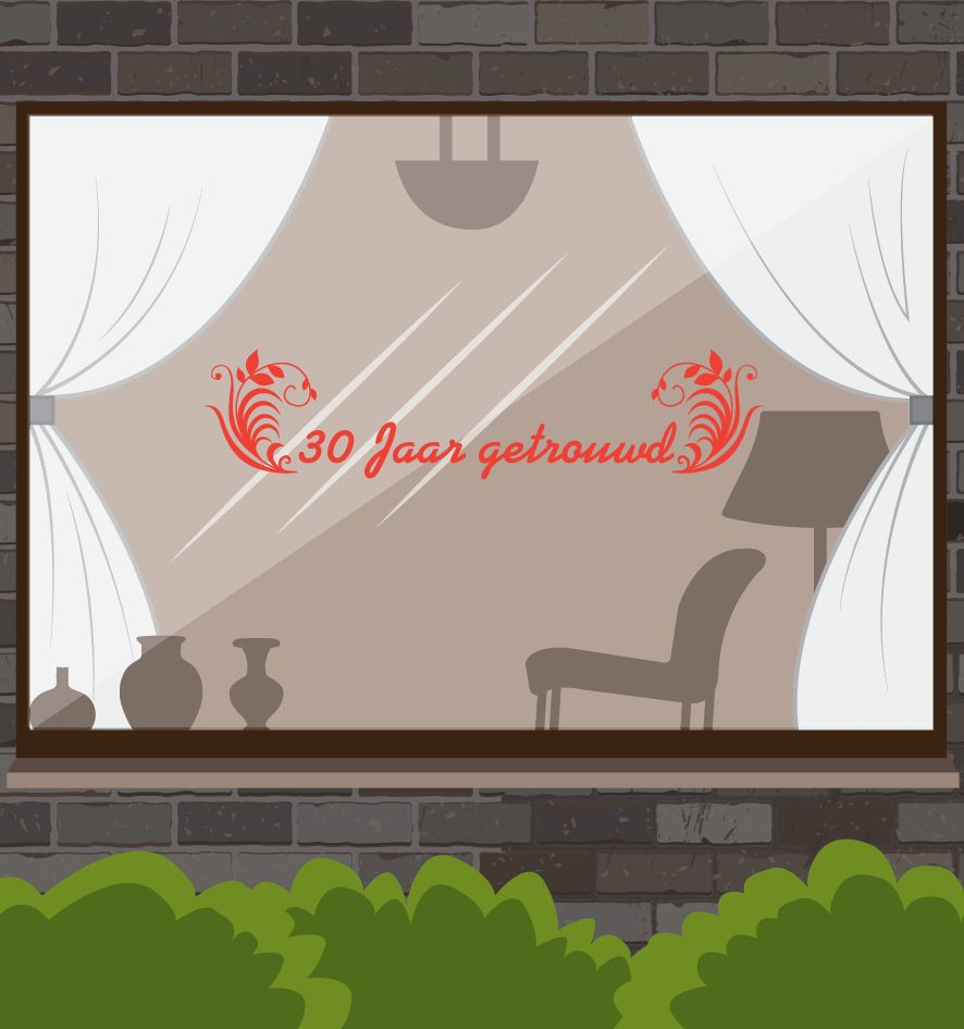 Wedding anniversary window sticker - Years with ornaments