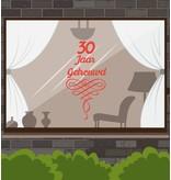 Hochzeitstag Fensteraufkleber - Jahre mit verzierten Girlanden