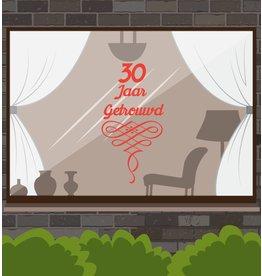 fenêtre anniversaire de mariage autocollant - années avec des guirlandes ornées