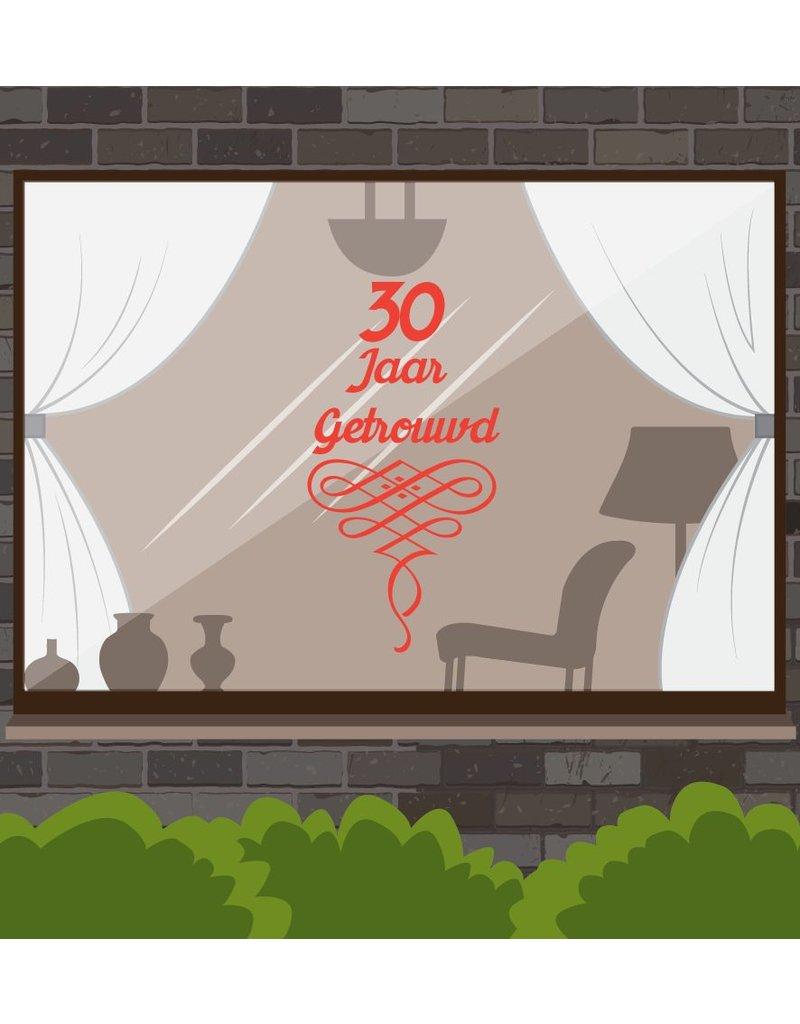 Boda ventana aniversario pegatina - Años con guirnaldas adornadas