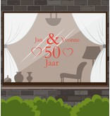 Wedding anniversary window sticker - Hearts