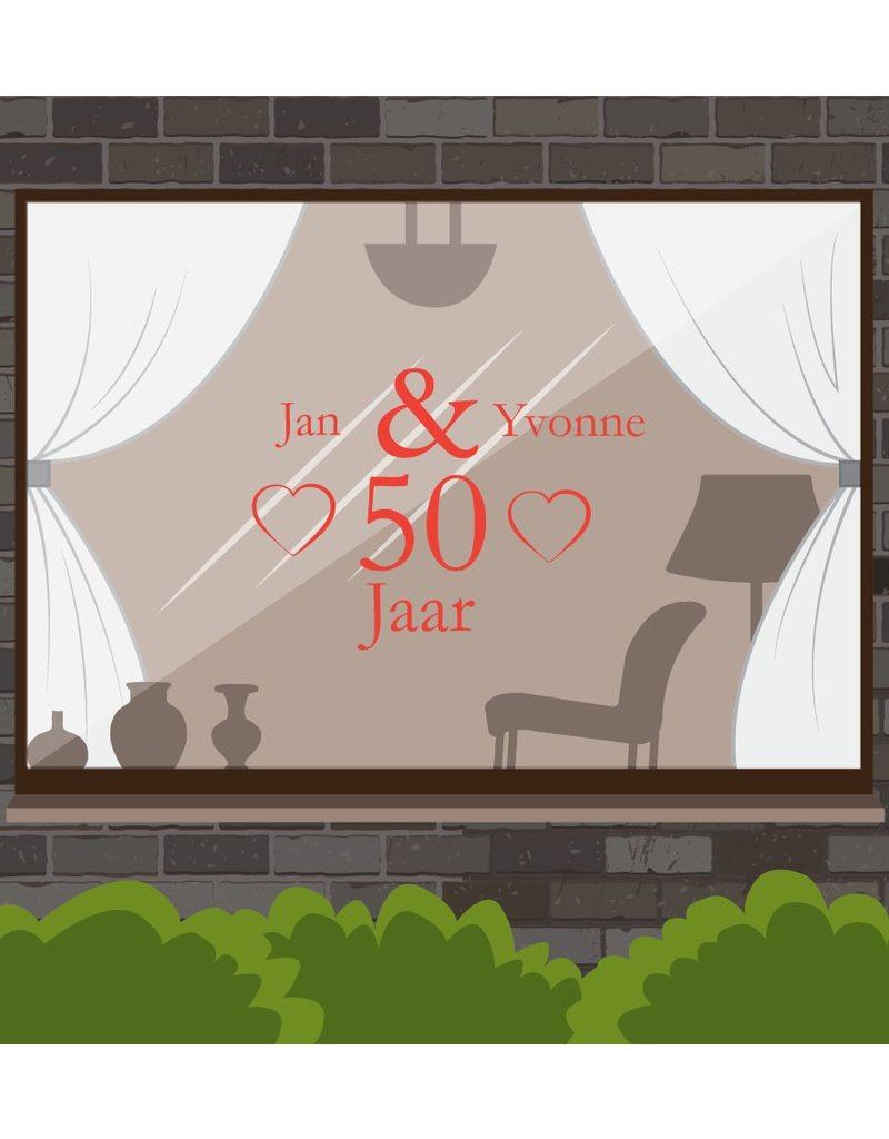 aniversario de boda etiqueta de la ventana - Corazones