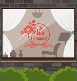 Huwelijksjubileum raamsticker - Sierlijke roos