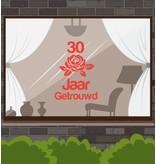 Hochzeitstag-Fensteraufkleber - Romantische Rose