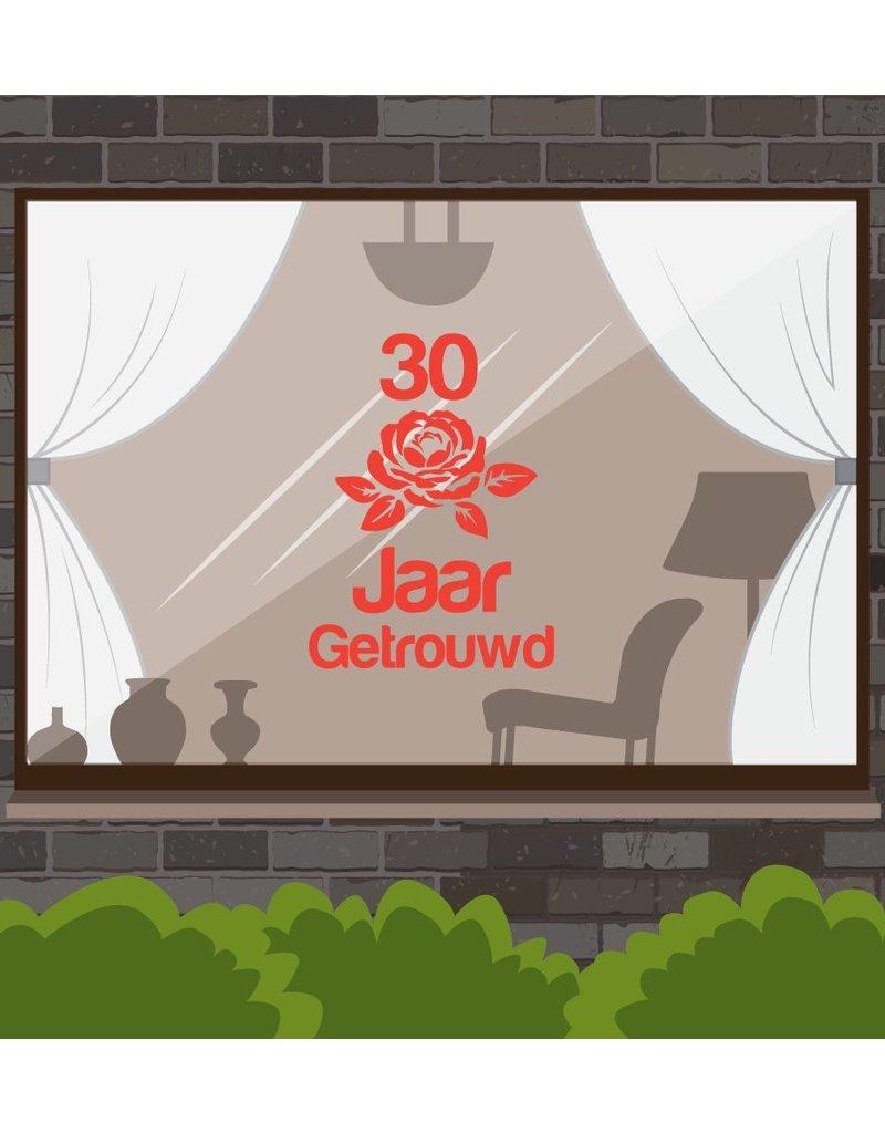 ventana de aniversario de boda pegatina - rosa romántica