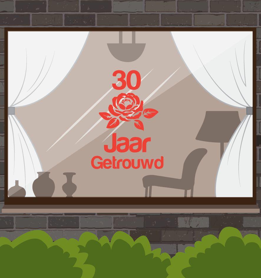 fenêtre d'anniversaire de mariage autocollant - rose romantique