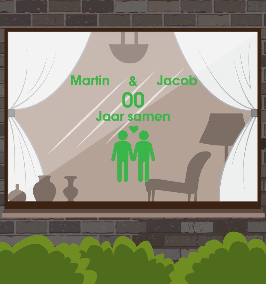 Amor y Amistad Etiqueta de la ventana - El hombre y del hombre