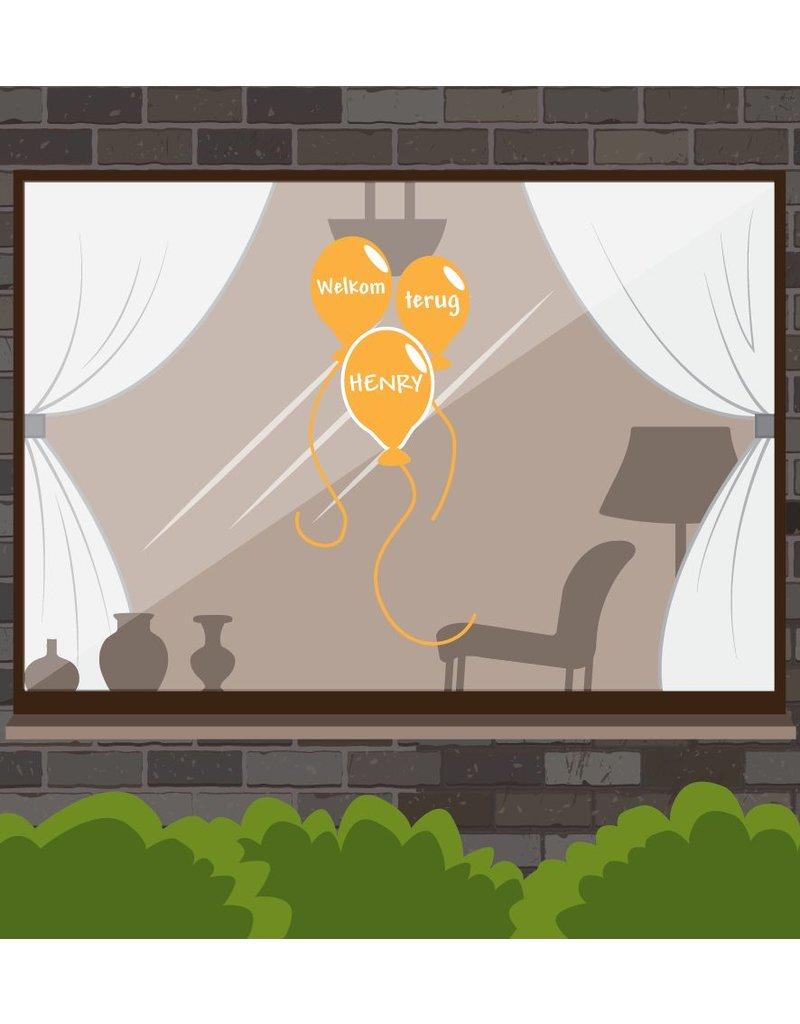 Bienvenido de nuevo Etiqueta de la ventana - globos de fiesta