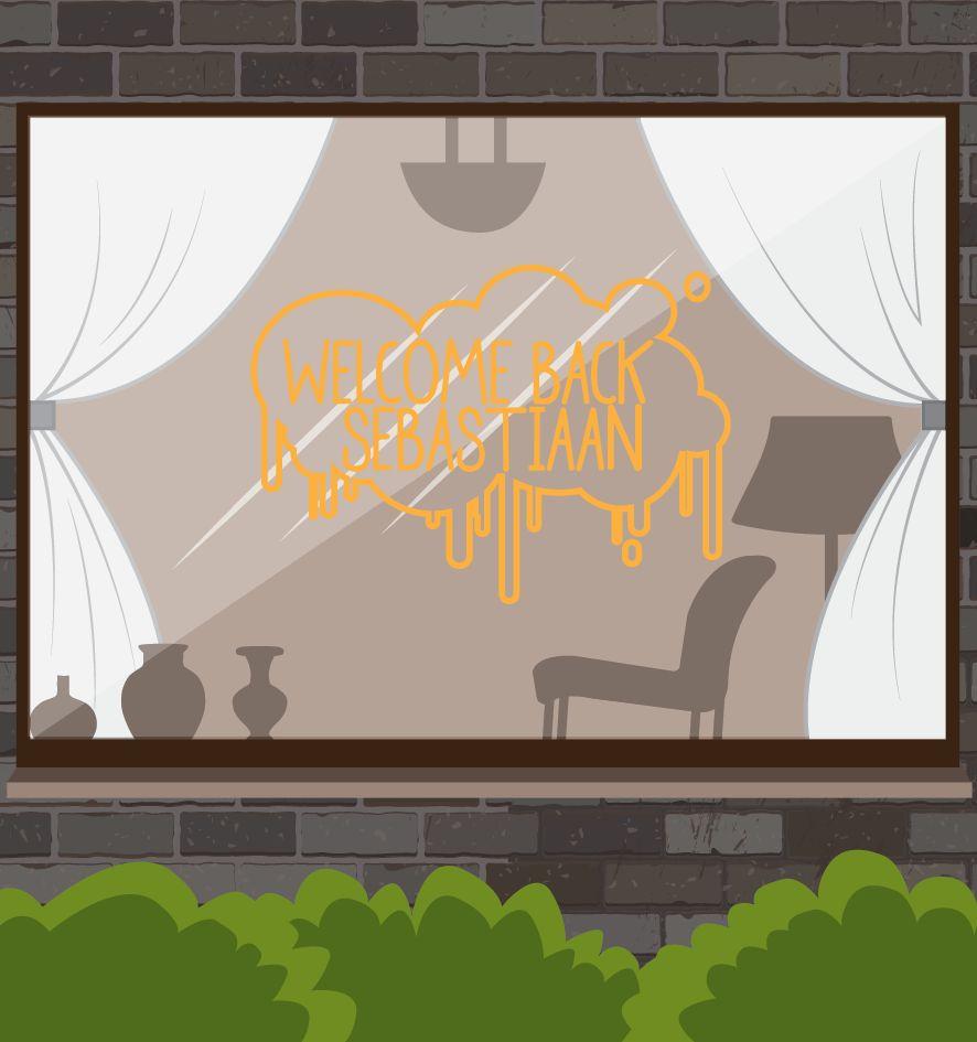 Bienvenido de nuevo etiqueta de la ventana - salpicaduras de pintura
