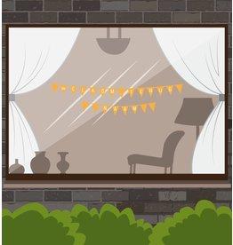 Bienvenido de nuevo etiqueta de la ventana - Banderas Garland