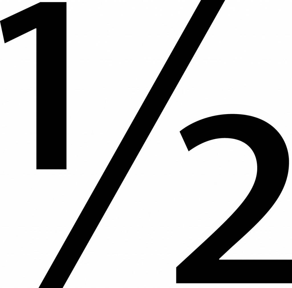 "Símbolo: ""1/2"""