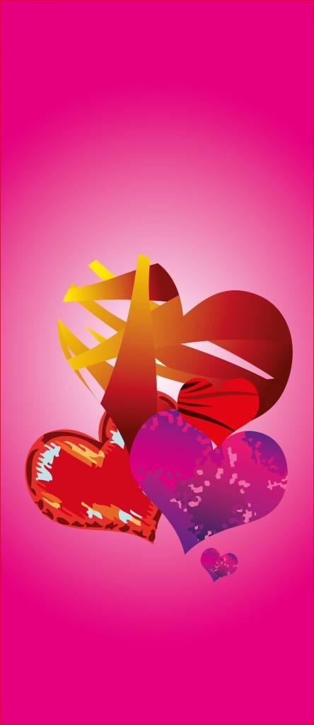 Pegatina de puerta corazones