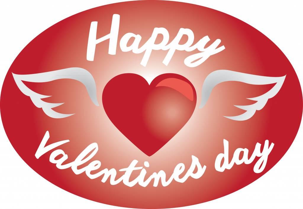 Día De San Valentín Corazón Con Alas Dr Pegatina