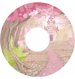 Autocollant protège-rayon château rose