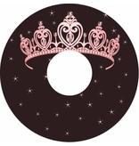 Spoke protector pink princess tiara on brown background