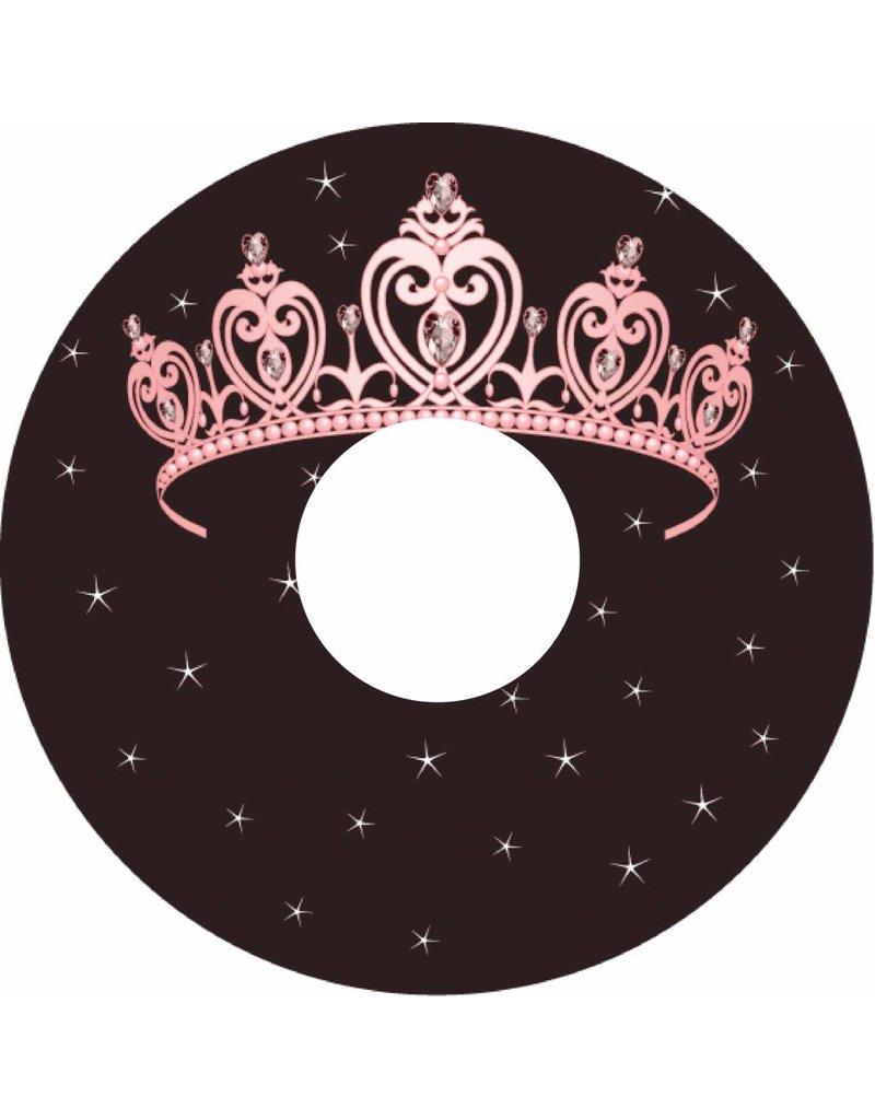 Pegatina protector de radios color rosa tiara de la princesa en el fondo marrón