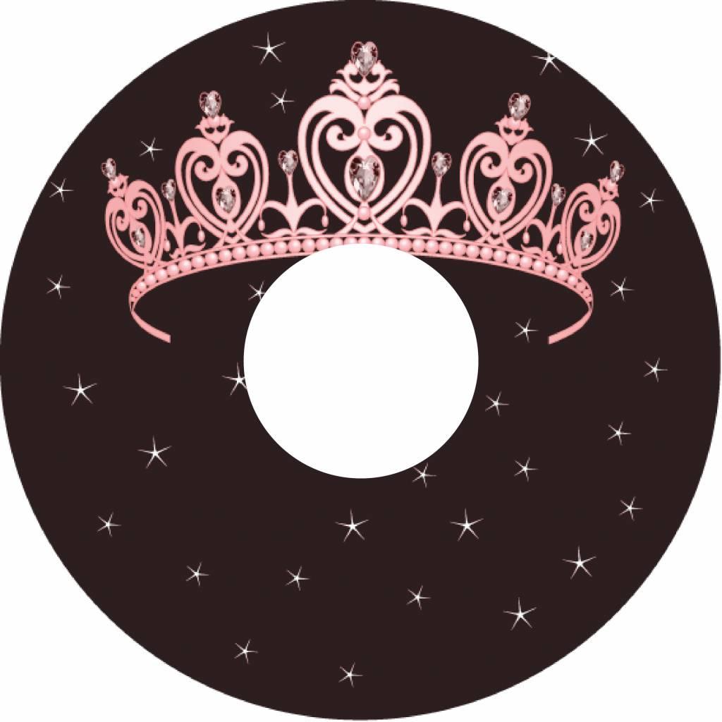Speichenschutz rosa Prinzessin Tiara auf braunem Hintergrund