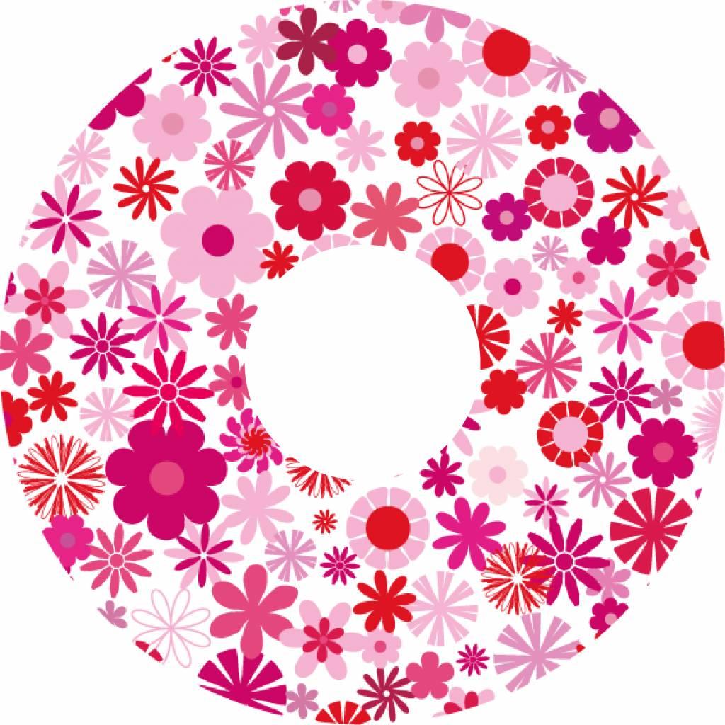 Autocollant protège-rayon fleur rose