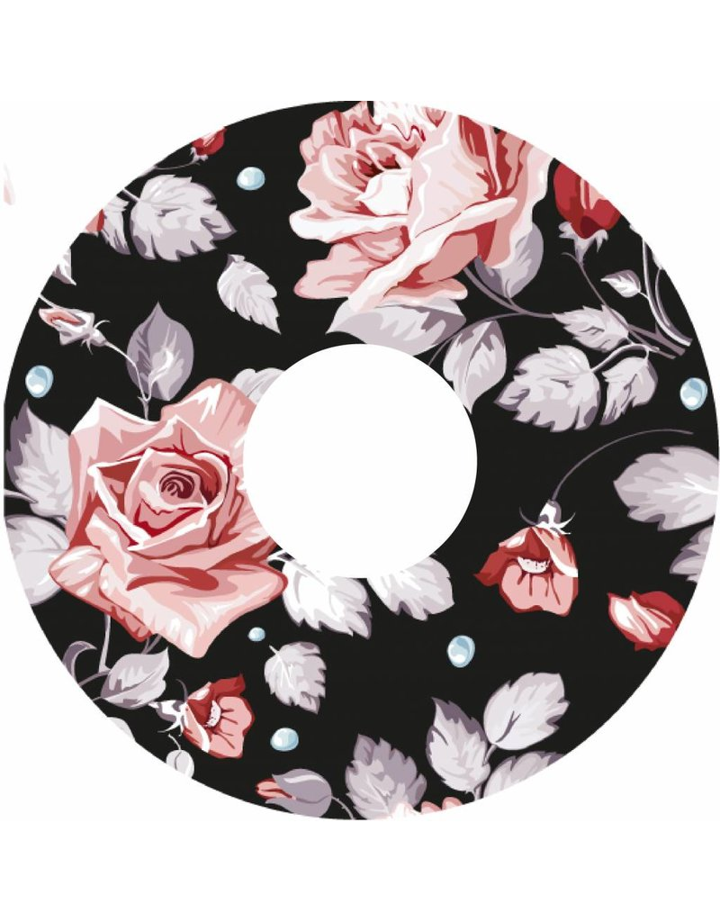 Pegatina protector de radios con rosas sobre fondo negro