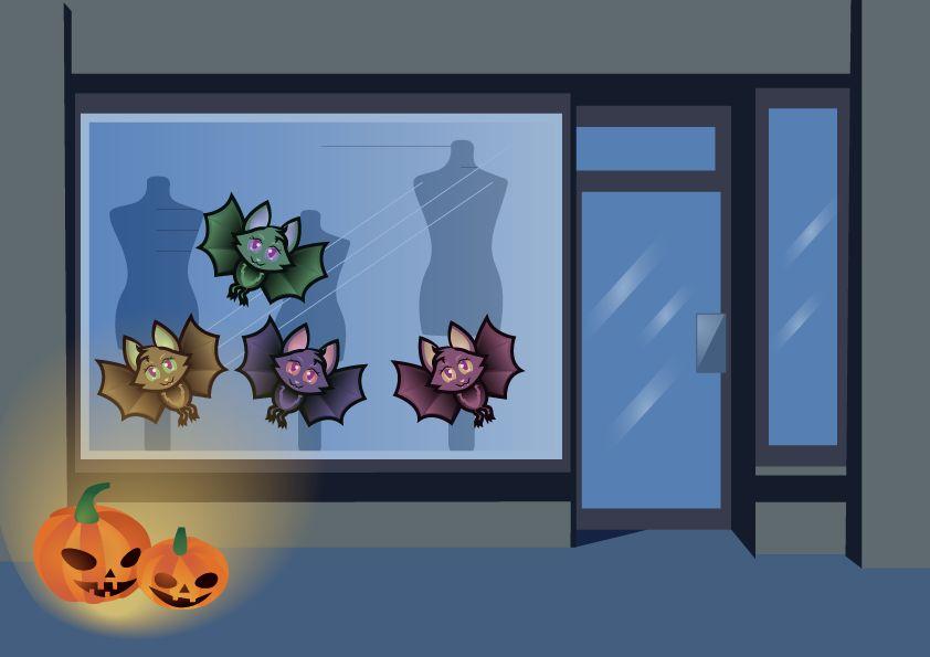 murciélagos divertido etiqueta de la ventana