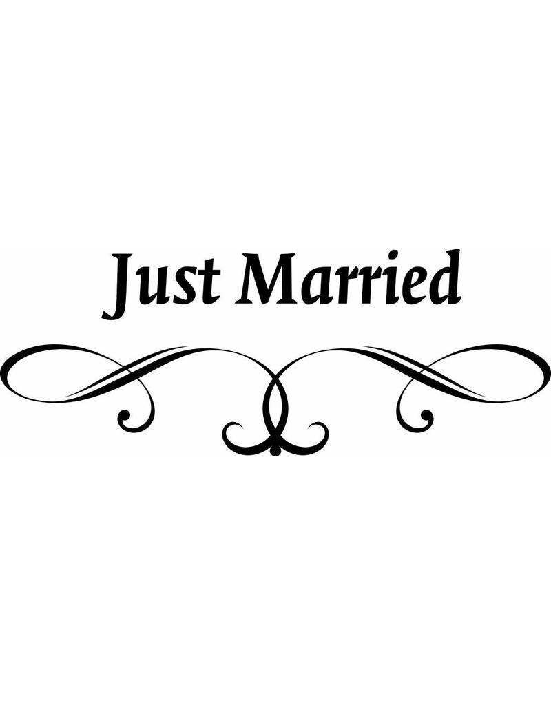Trouwdag - Just married met sierlijk ornament