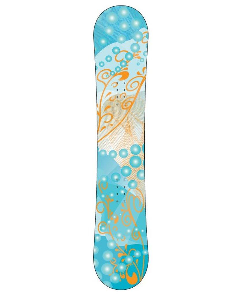 Blumenmuster orange Snowboard Sticker