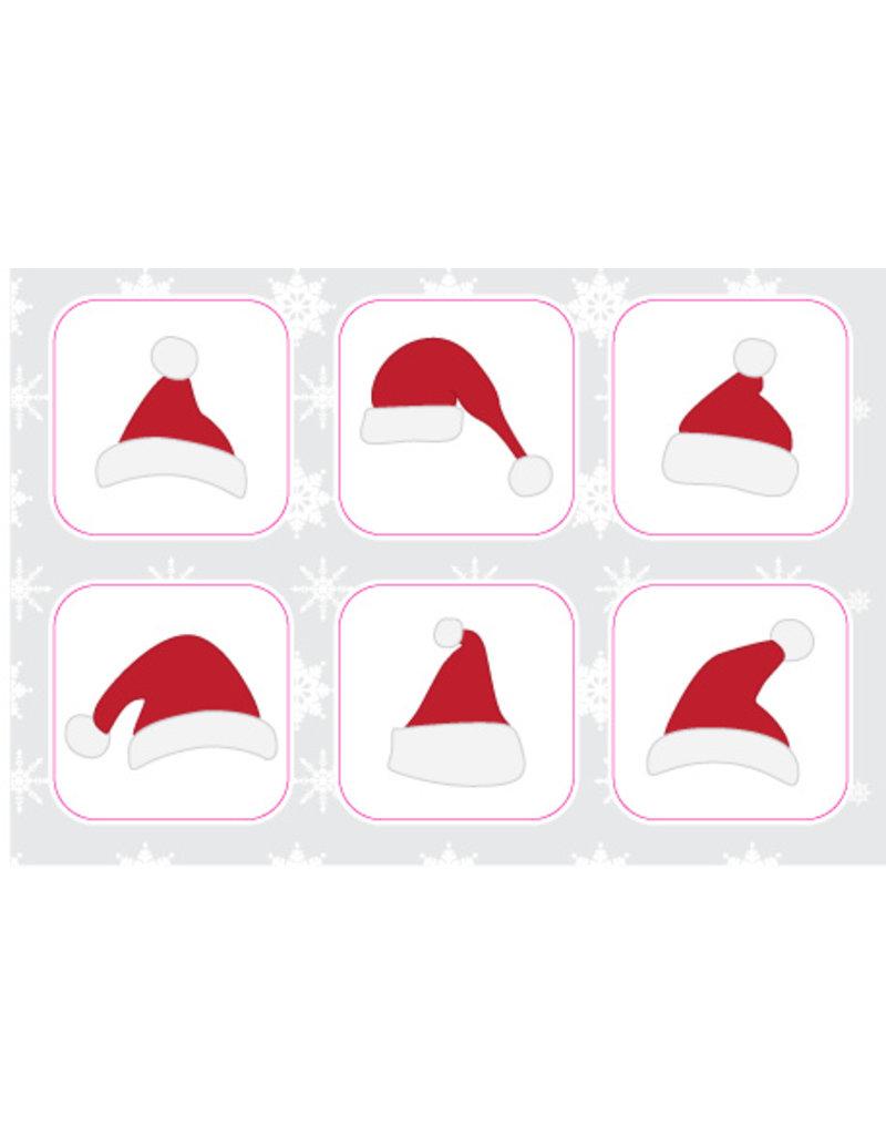 Kerstmutsen Stickervel