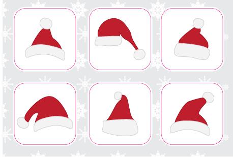 Weihnachtsmützen Stickerbogen