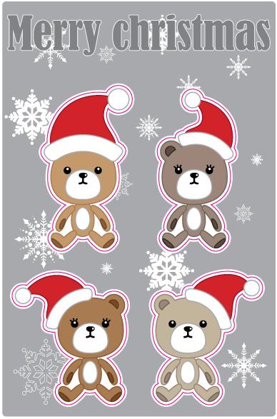 Noël ours autocollants