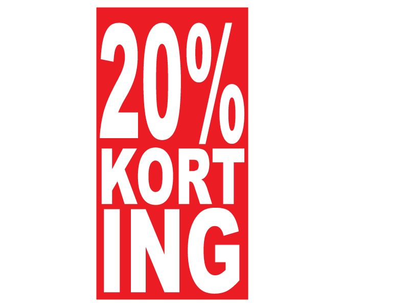 """Rechteckige """"20% korting"""" Sticker auf Niederländisch"""