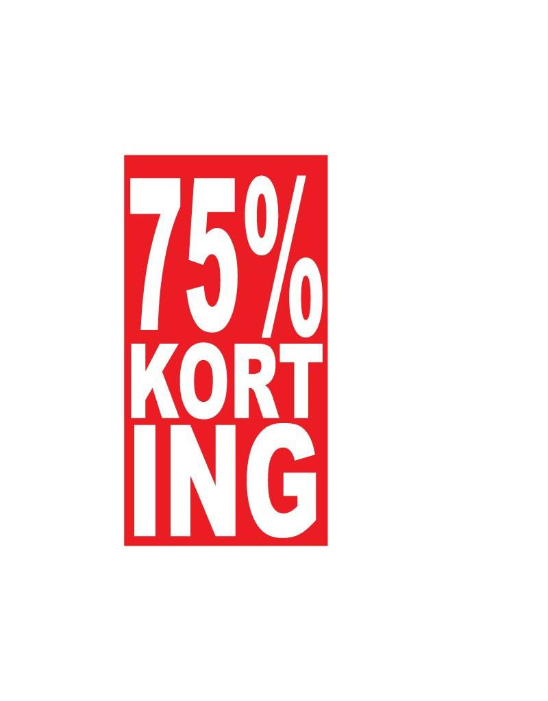 """Rechteckige """"75% korting"""" Sticker auf Niederländisch"""