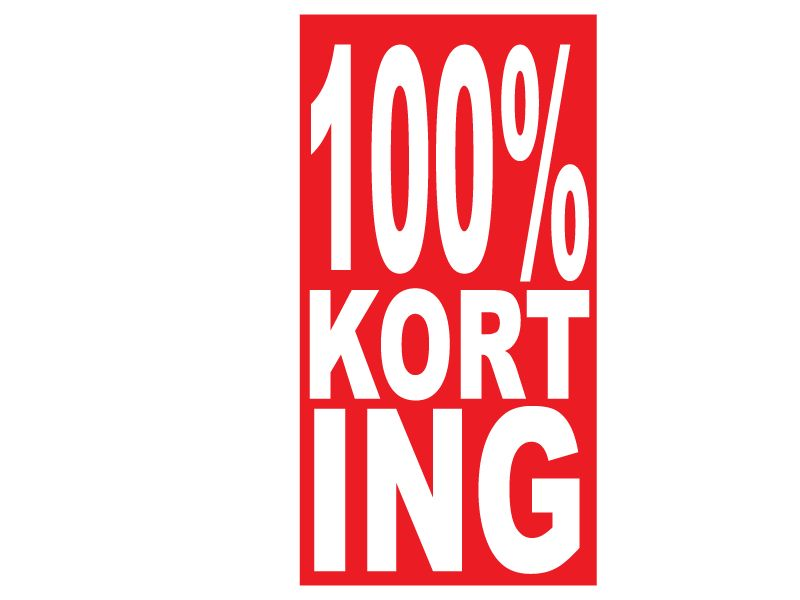 """Rechteckige """"100% korting"""" Sticker auf Niederländisch"""