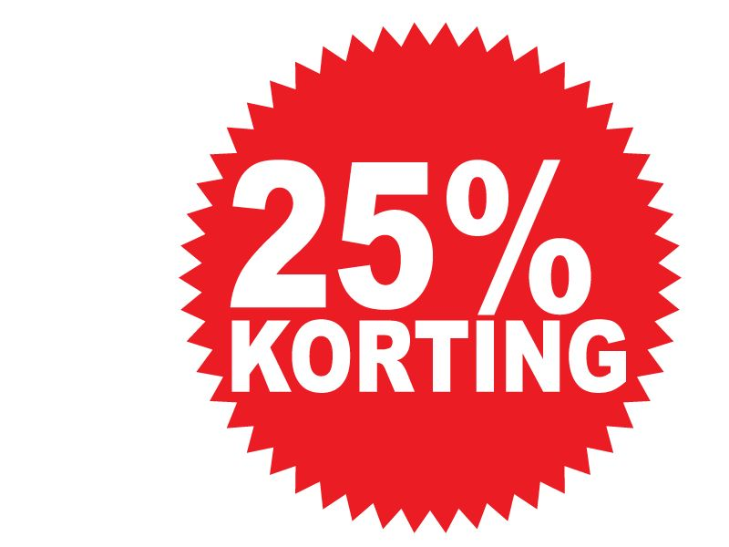 Ronde 25% korting Sticker