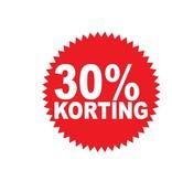 """Runde """"30% korting"""" Sticker auf Niederländisch"""