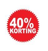 """Runde """"40% korting"""" Sticker auf Niederländisch"""