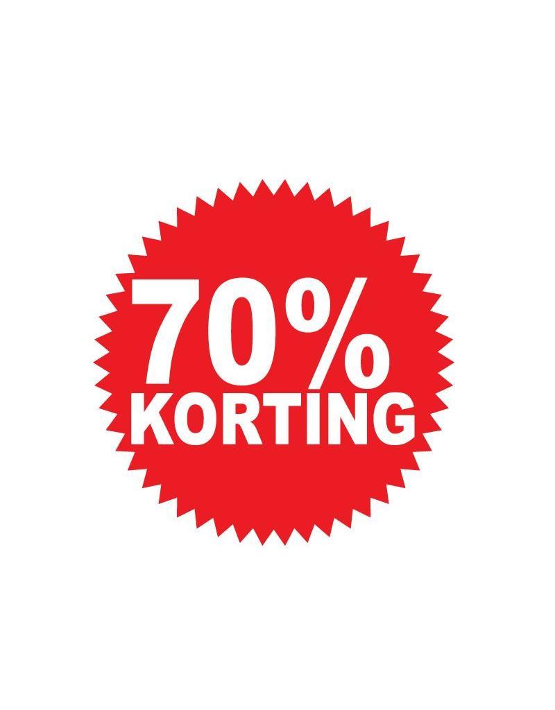 """Runde """"70% korting"""" Sticker auf Niederländisch"""