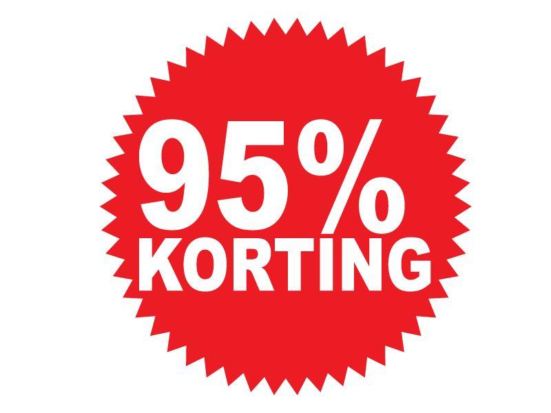 """Runde """"95% korting"""" Sticker auf Niederländisch"""