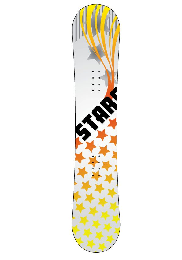 Autocollant snowboard étoiles