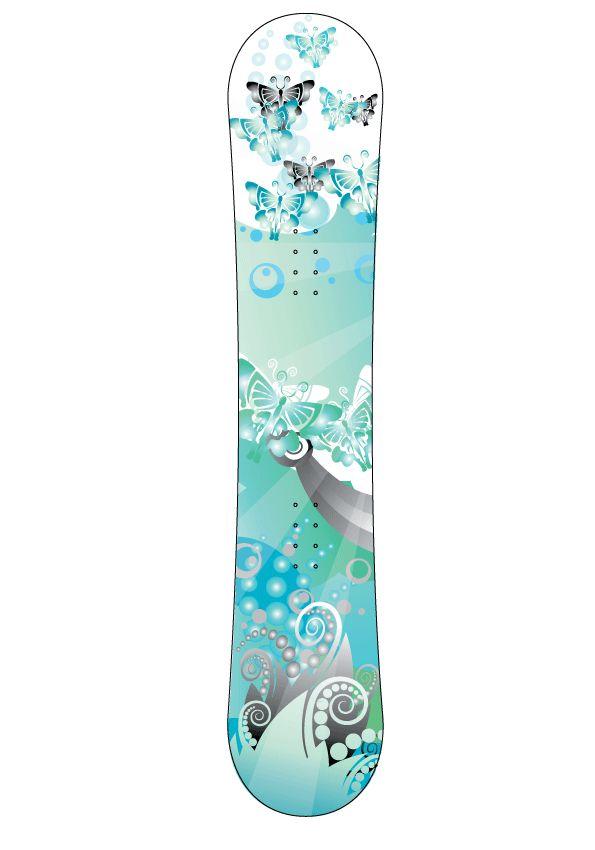 Blauw landschap snowboard Sticker