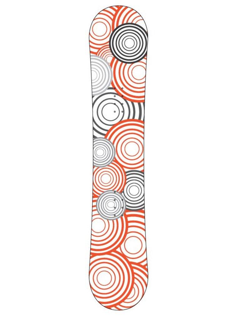 Orange black circles snowboard Sticker