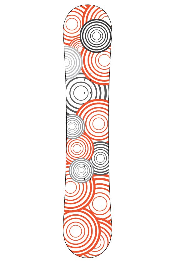 Orange black circles snowboard Sticker