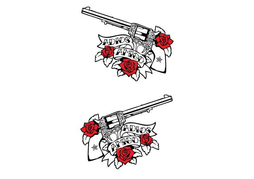 Decoration guns & roses black/white sticker